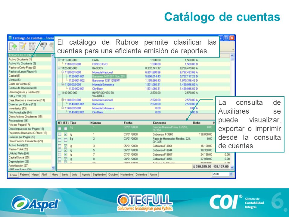 Catálogo de cuentas El catálogo de Rubros permite clasificar las cuentas para una eficiente emisión de reportes.