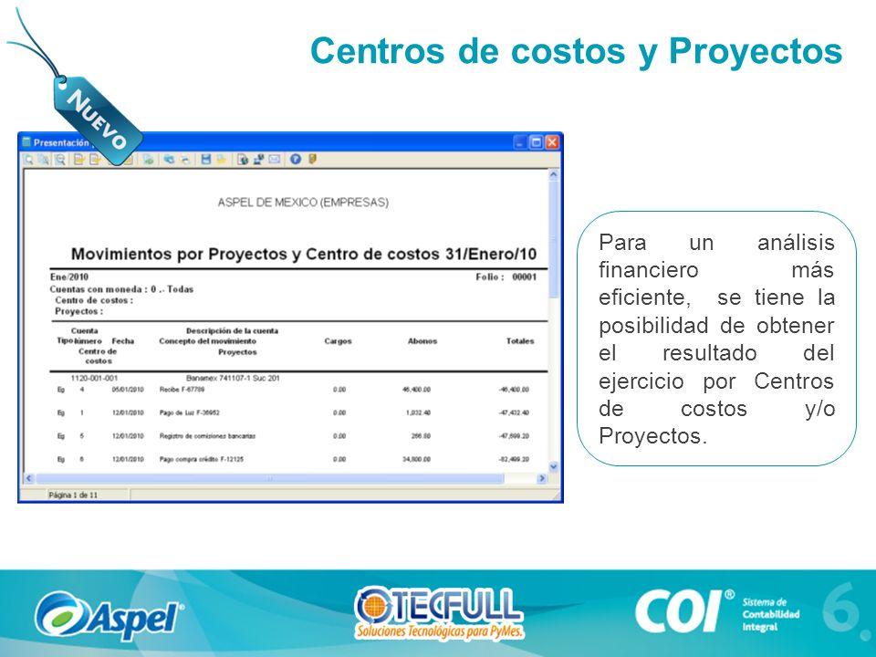 Centros de costos y Proyectos