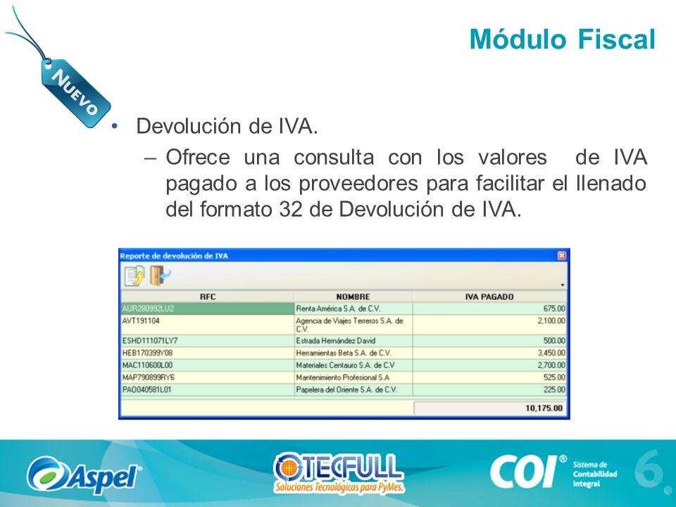 Módulo Fiscal Devolución de IVA.