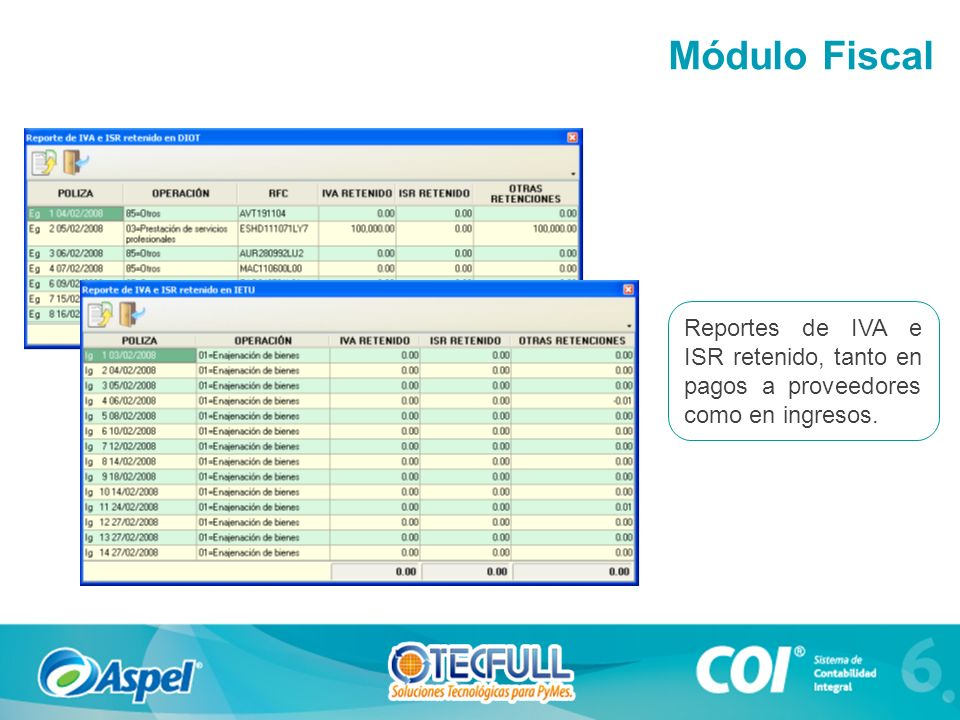 Módulo Fiscal Reportes de IVA e ISR retenido, tanto en pagos a proveedores como en ingresos.