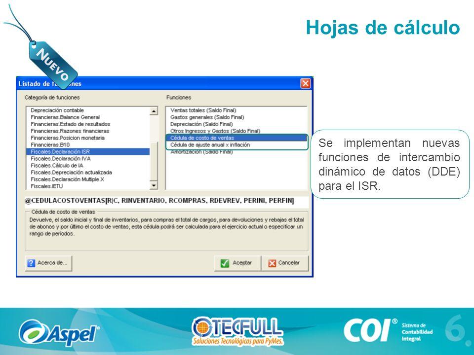 Hojas de cálculo Se implementan nuevas funciones de intercambio dinámico de datos (DDE) para el ISR.
