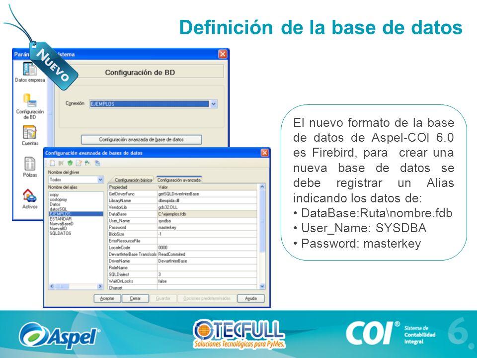 Definición de la base de datos