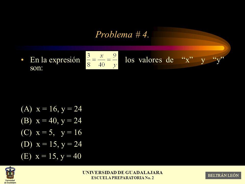 Problema # 4. En la expresión los valores de x y y son:
