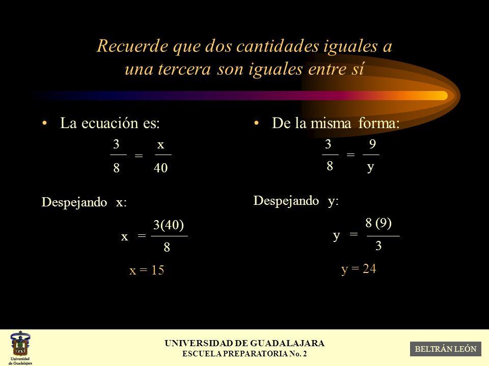 Recuerde que dos cantidades iguales a una tercera son iguales entre sí