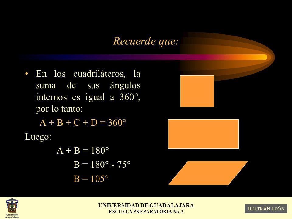 Recuerde que: En los cuadriláteros, la suma de sus ángulos internos es igual a 360°, por lo tanto: A + B + C + D = 360°