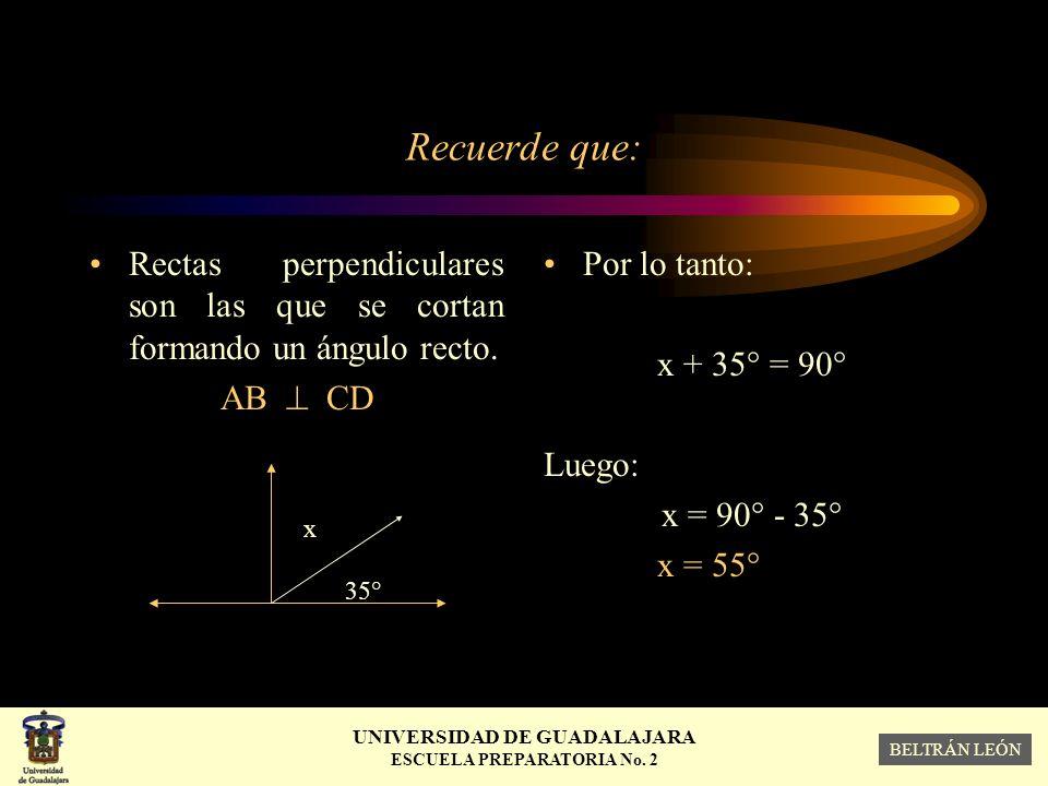 Recuerde que: Rectas perpendiculares son las que se cortan formando un ángulo recto. AB  CD. x 35°
