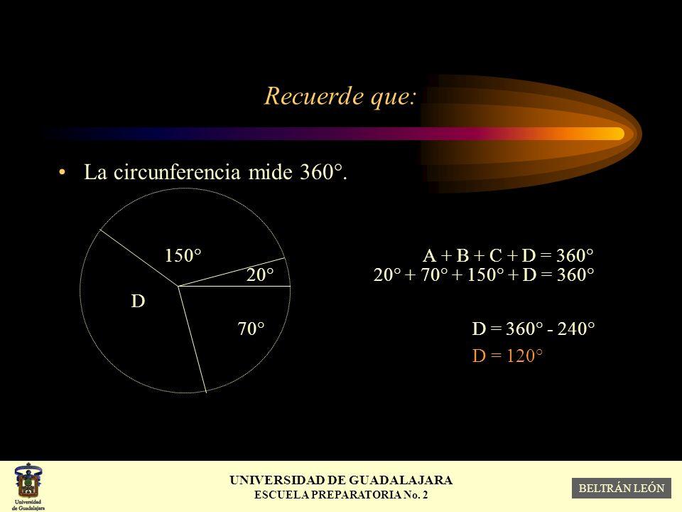Recuerde que: La circunferencia mide 360°. 150° A + B + C + D = 360°