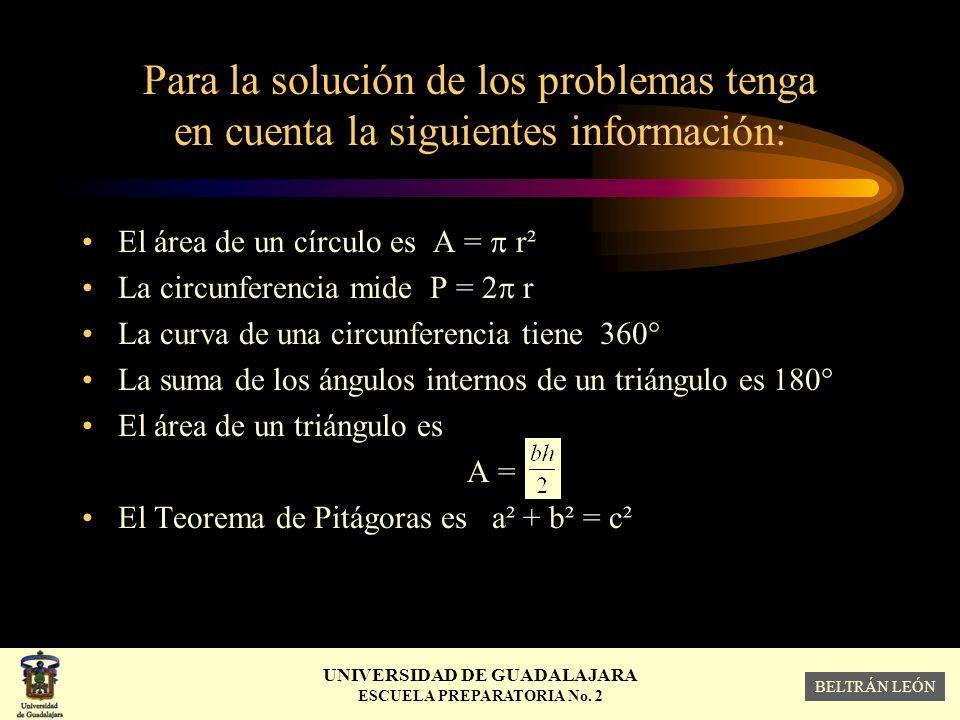 Para la solución de los problemas tenga en cuenta la siguientes información: