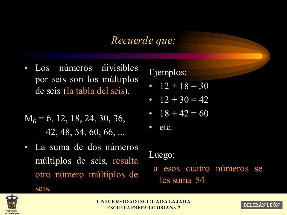 Recuerde que: Los números divisibles por seis son los múltiplos de seis (la tabla del seis). M6 = 6, 12, 18, 24, 30, 36,