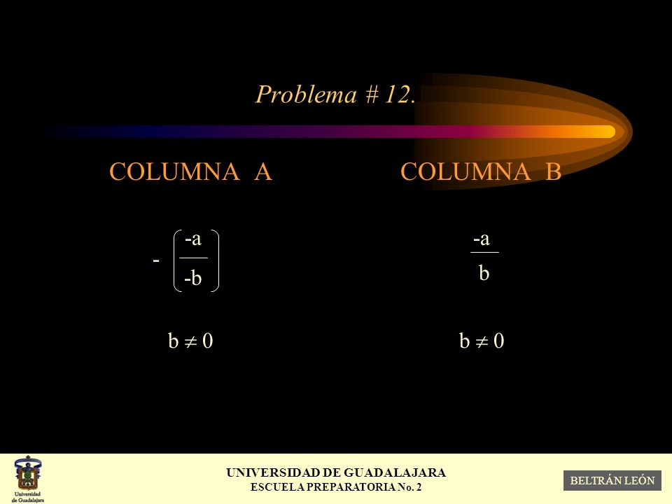 Problema # 12. COLUMNA A -a - -b b  0 COLUMNA B -a b b  0