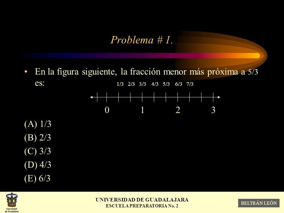Problema # 1. En la figura siguiente, la fracción menor más próxima a 5/3 es: 1/3 2/3 3/3 4/3 5/3 6/3 7/3.