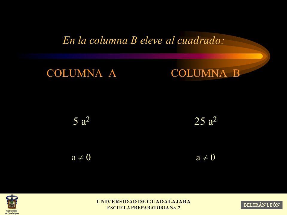 En la columna B eleve al cuadrado: