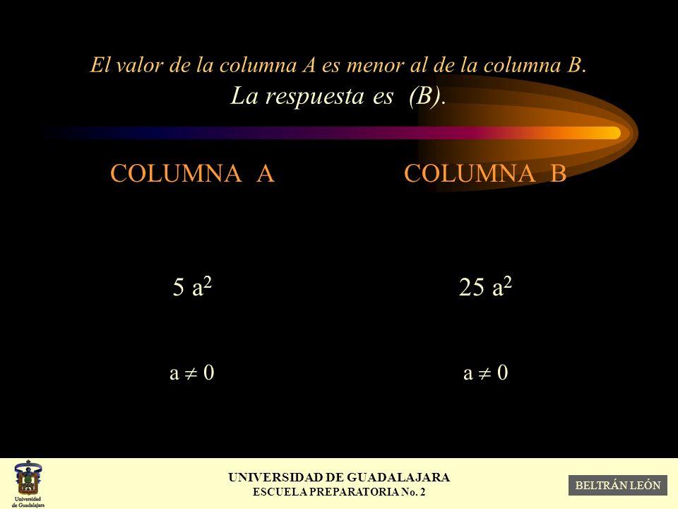 El valor de la columna A es menor al de la columna B