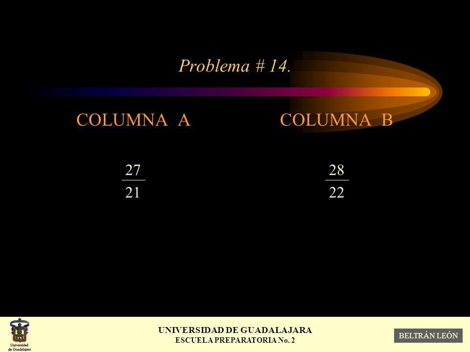 Problema # 14. COLUMNA A 27 21 COLUMNA B 28 22