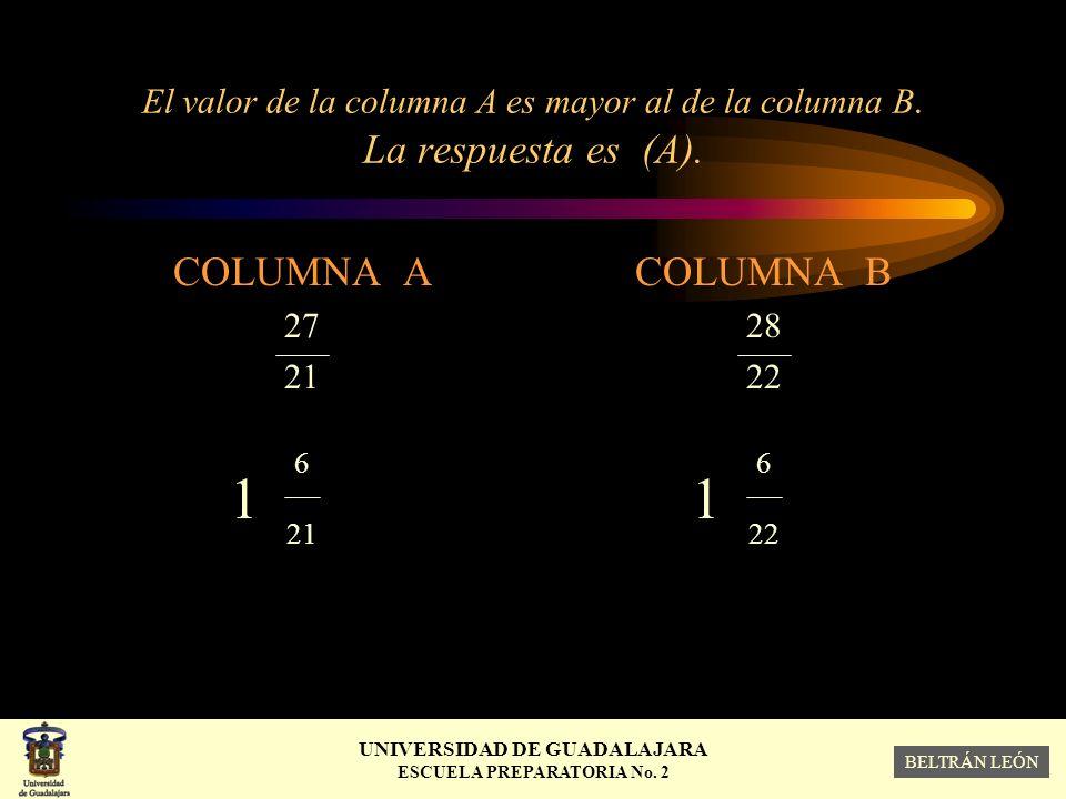 El valor de la columna A es mayor al de la columna B