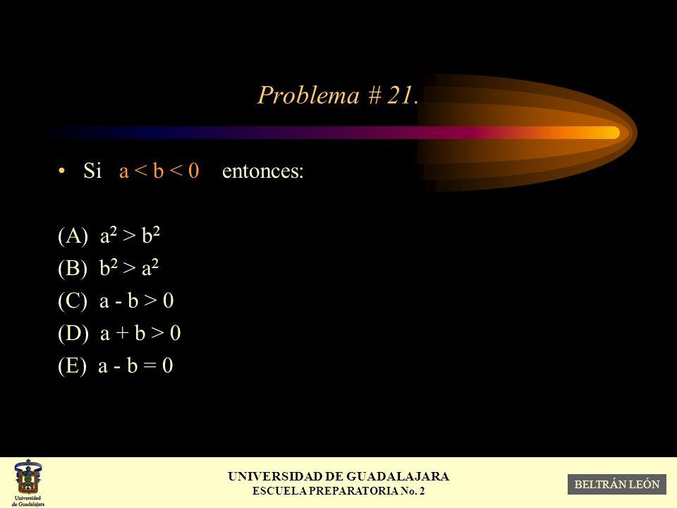 Problema # 21. Si a < b < 0 entonces: (A) a2 > b2