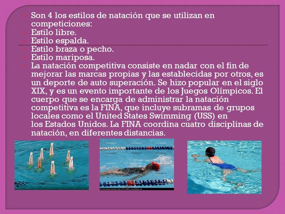 Son 4 los estilos de natación que se utilizan en competiciones: