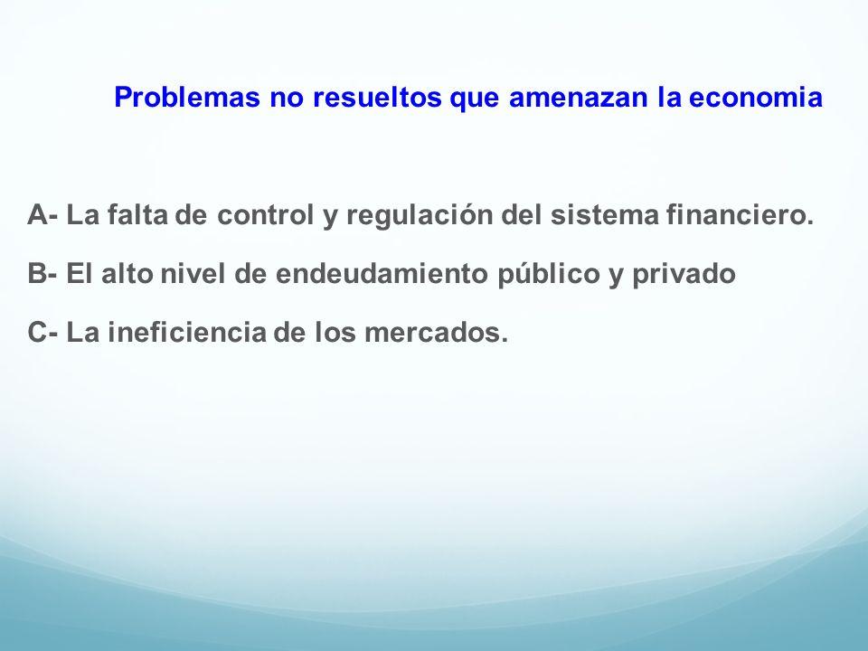 Problemas no resueltos que amenazan la economia