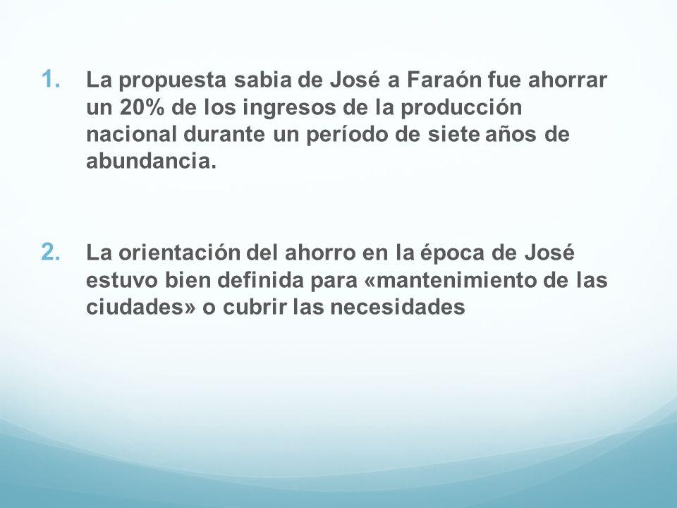 La propuesta sabia de José a Faraón fue ahorrar un 20% de los ingresos de la producción nacional durante un período de siete años de abundancia.