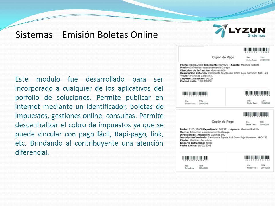 Sistemas – Emisión Boletas Online
