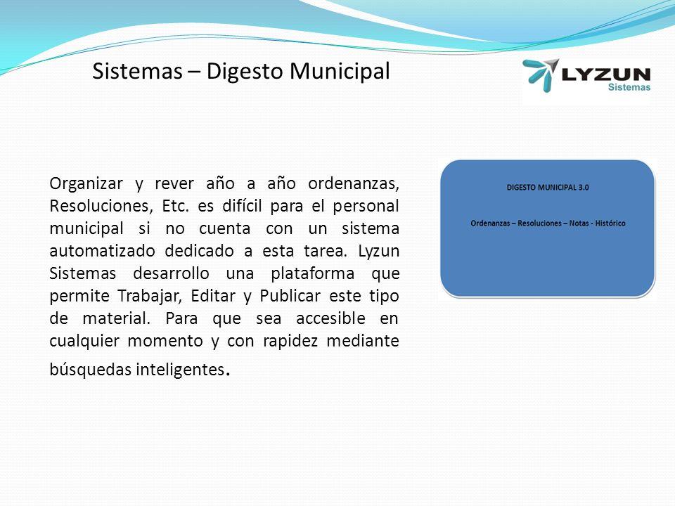 Sistemas – Digesto Municipal