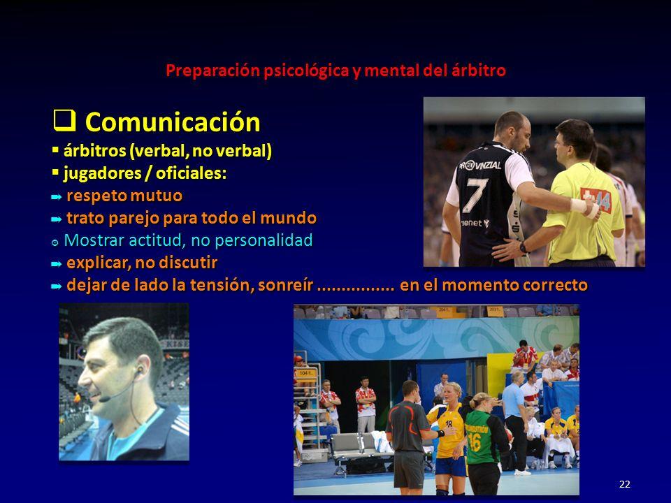 Comunicación árbitros (verbal, no verbal) jugadores / oficiales: