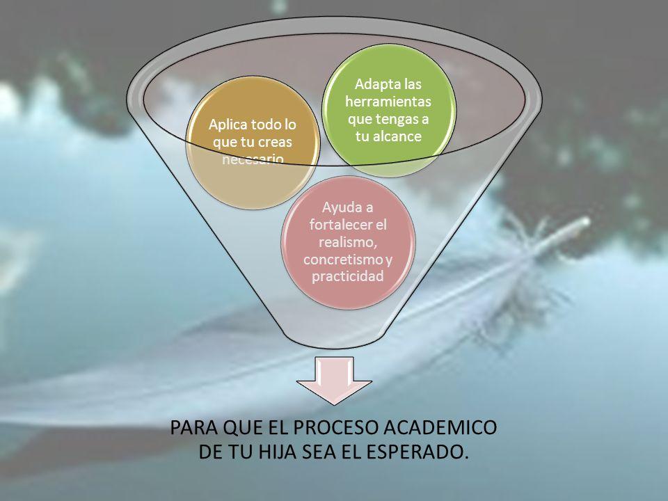 PARA QUE EL PROCESO ACADEMICO DE TU HIJA SEA EL ESPERADO.
