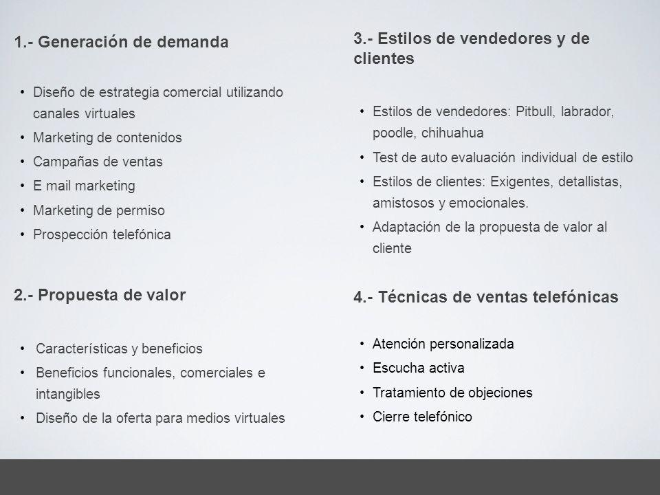 3.- Estilos de vendedores y de clientes