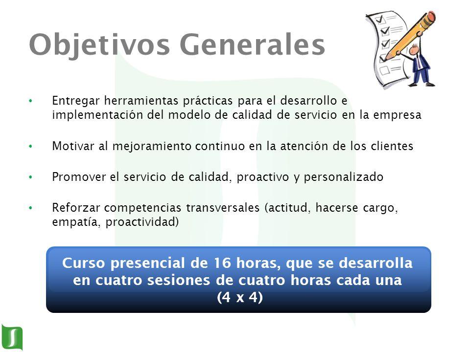 Objetivos Generales Entregar herramientas prácticas para el desarrollo e implementación del modelo de calidad de servicio en la empresa.