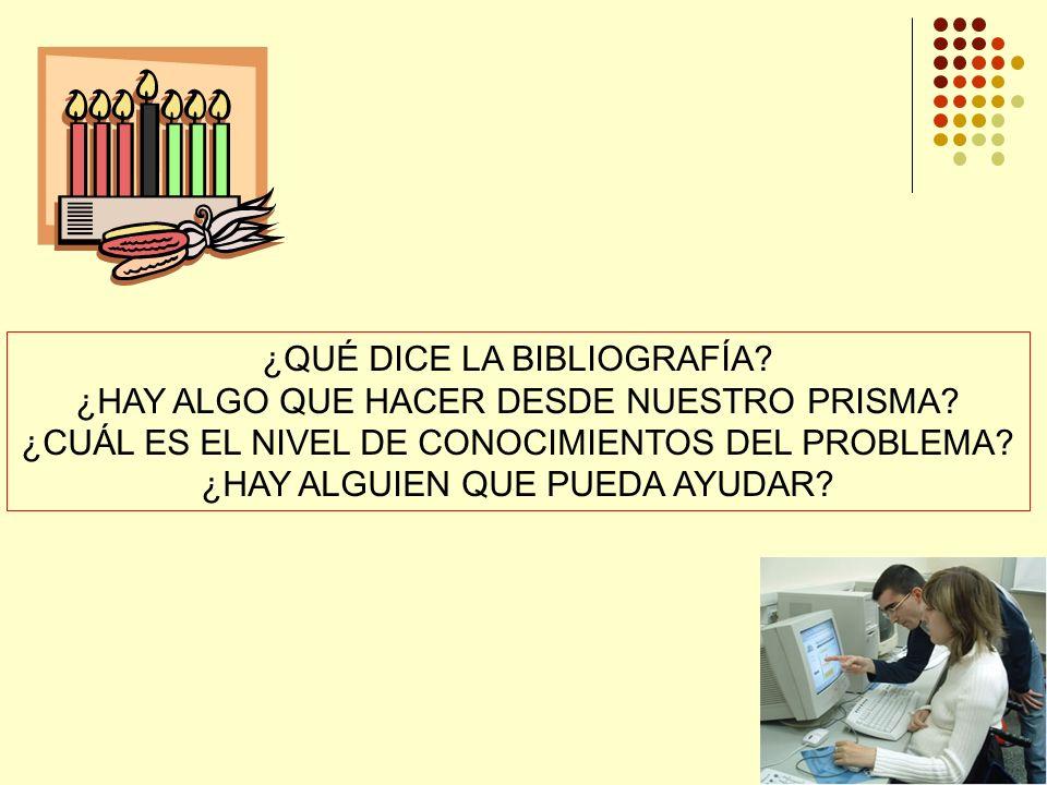 ¿QUÉ DICE LA BIBLIOGRAFÍA ¿HAY ALGO QUE HACER DESDE NUESTRO PRISMA