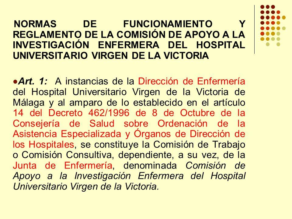 NORMAS DE FUNCIONAMIENTO Y REGLAMENTO DE LA COMISIÓN DE APOYO A LA INVESTIGACIÓN ENFERMERA DEL HOSPITAL UNIVERSITARIO VIRGEN DE LA VICTORIA
