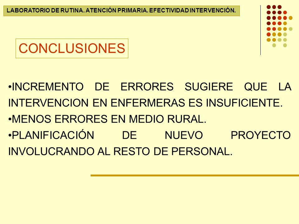 LABORATORIO DE RUTINA. ATENCIÓN PRIMARIA. EFECTIVIDAD INTERVENCIÓN.