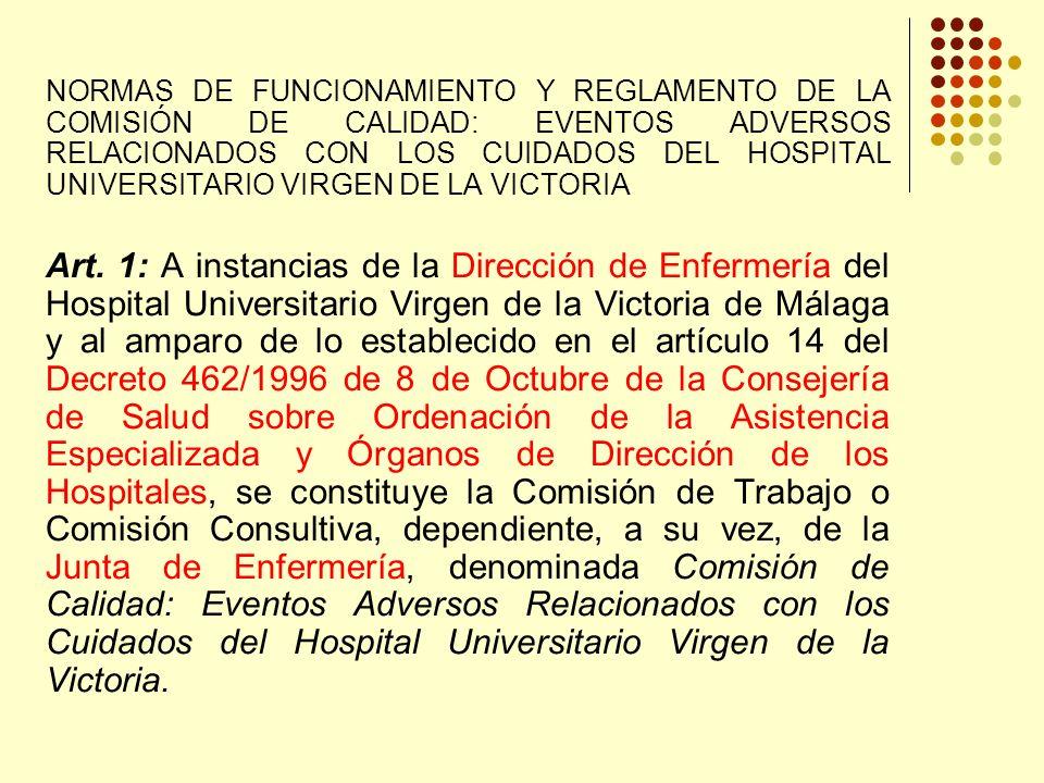 NORMAS DE FUNCIONAMIENTO Y REGLAMENTO DE LA COMISIÓN DE CALIDAD: EVENTOS ADVERSOS RELACIONADOS CON LOS CUIDADOS DEL HOSPITAL UNIVERSITARIO VIRGEN DE LA VICTORIA