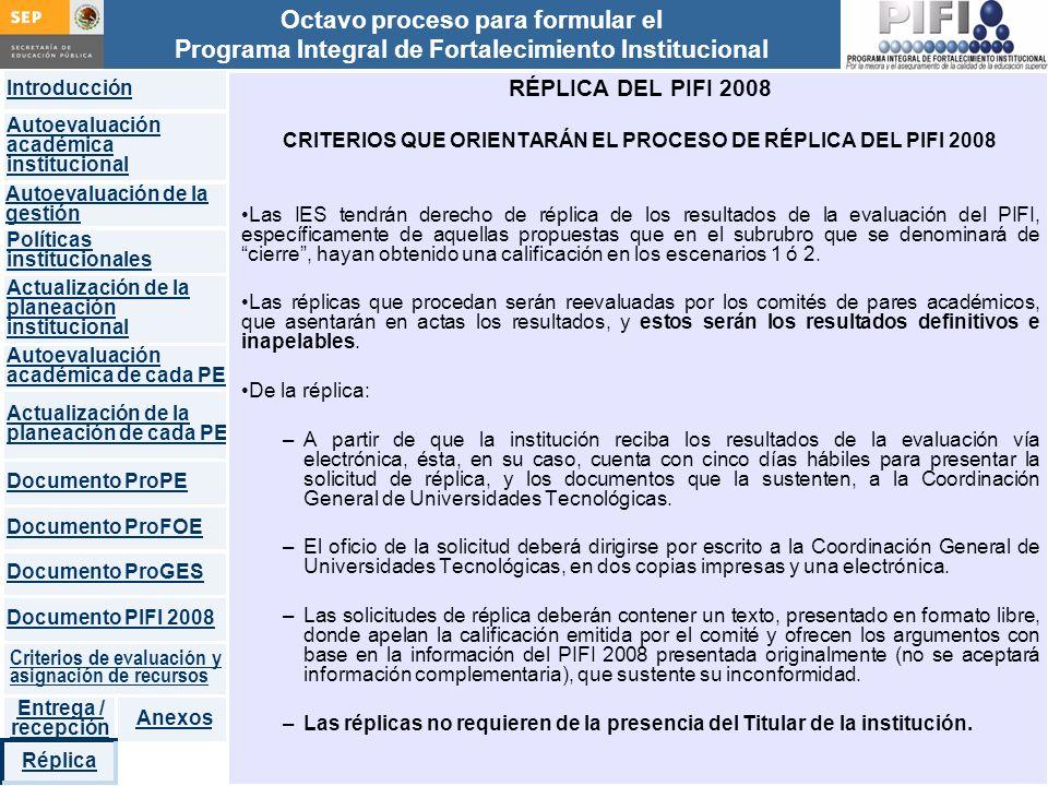 CRITERIOS QUE ORIENTARÁN EL PROCESO DE RÉPLICA DEL PIFI 2008