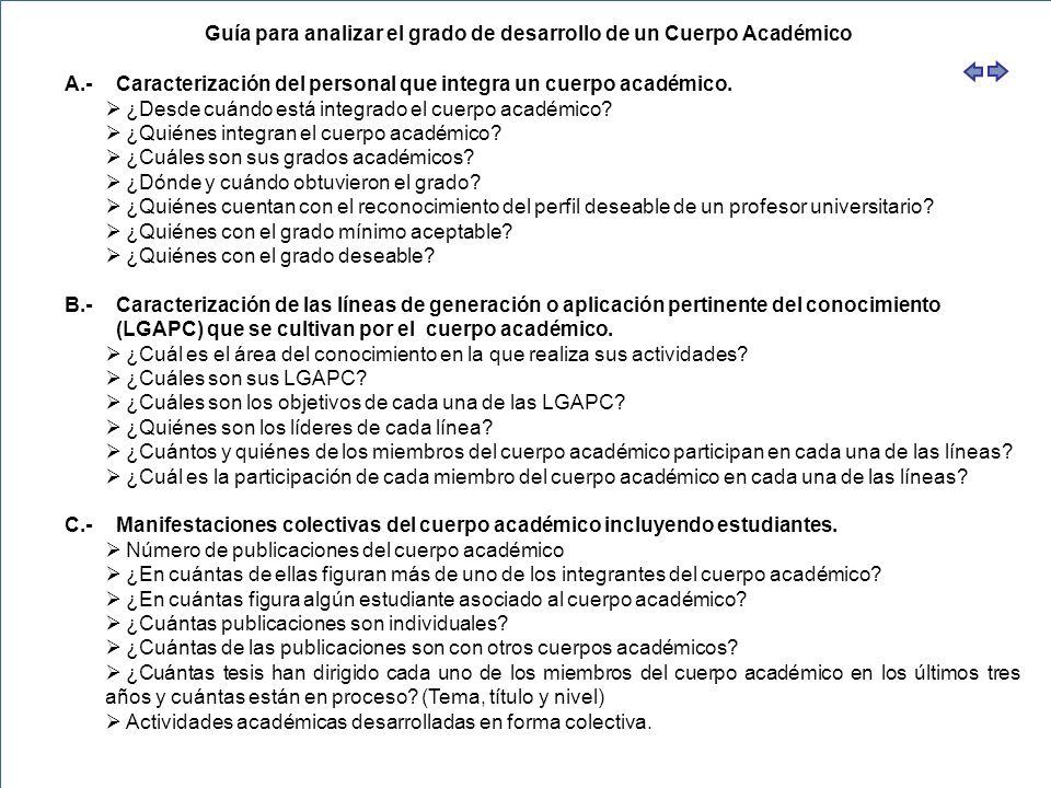 Guía para analizar el grado de desarrollo de un Cuerpo Académico