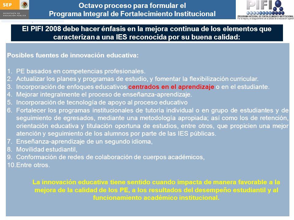 El PIFI 2008 debe hacer énfasis en la mejora continua de los elementos que caracterizan a una IES reconocida por su buena calidad: