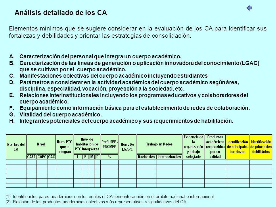 Análisis detallado de los CA