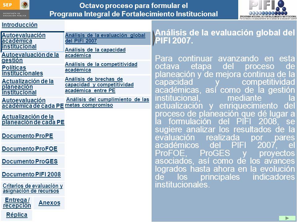 Análisis de la evaluación global del PIFI 2007.