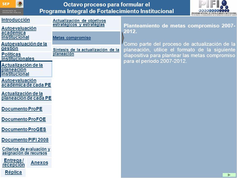 Planteamiento de metas compromiso 2007-2012.