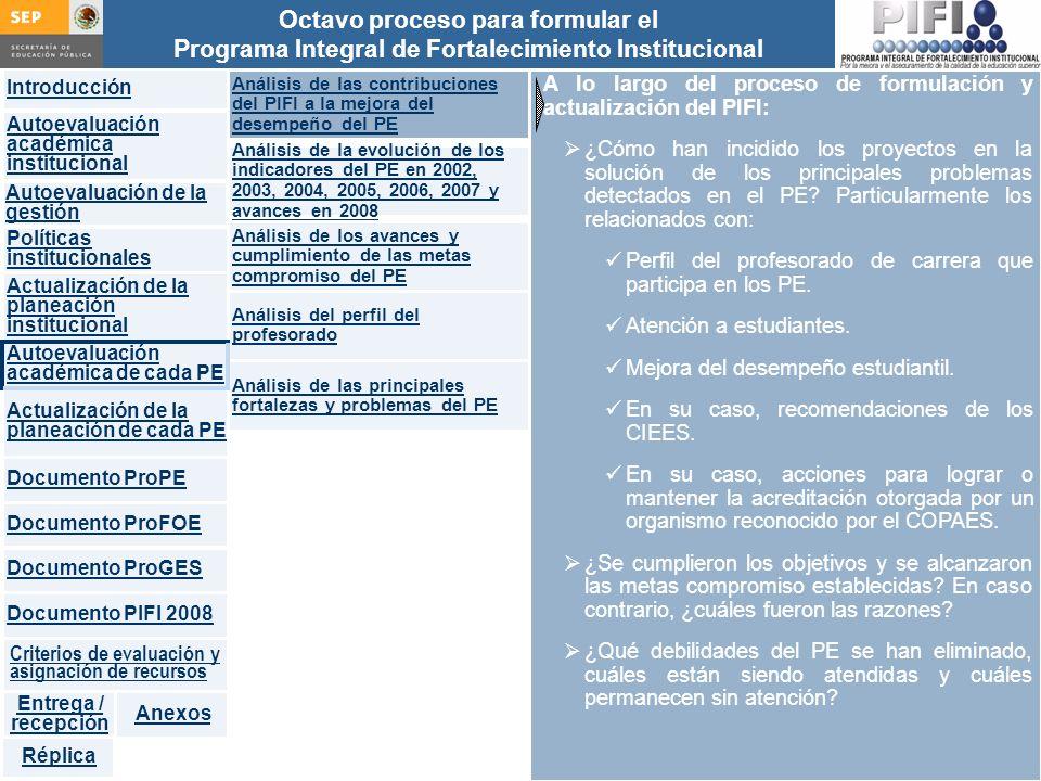 A lo largo del proceso de formulación y actualización del PIFI:
