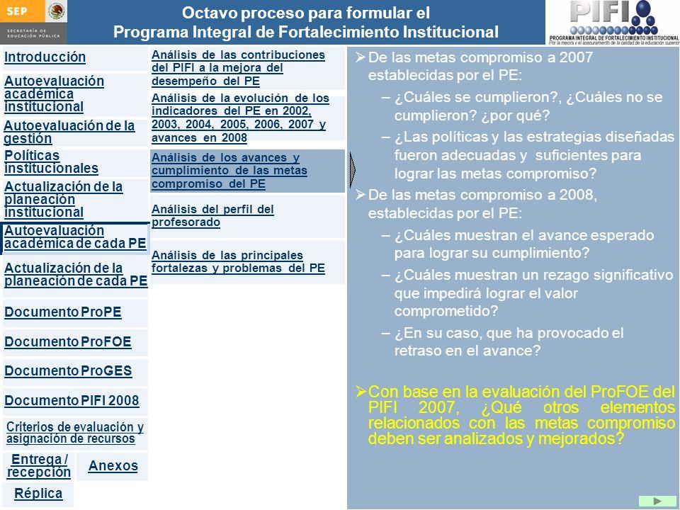 Análisis de las contribuciones del PIFI a la mejora del desempeño del PE