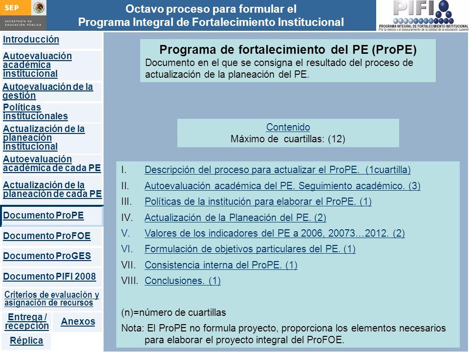 Programa de fortalecimiento del PE (ProPE)
