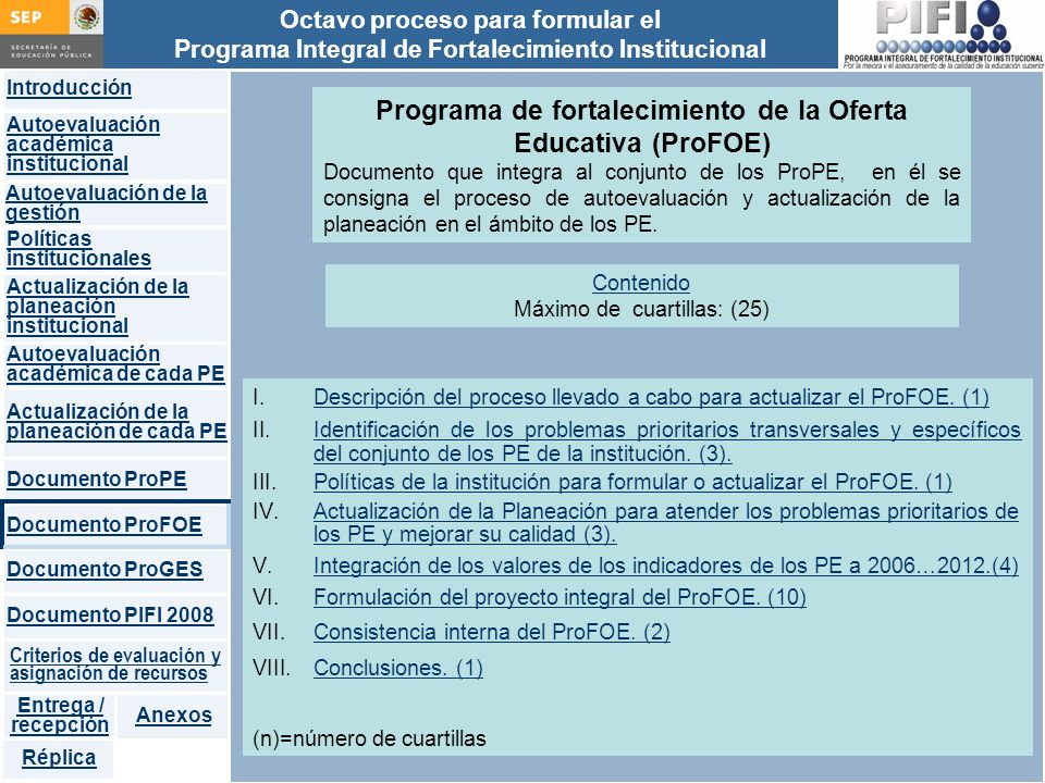 Programa de fortalecimiento de la Oferta Educativa (ProFOE)
