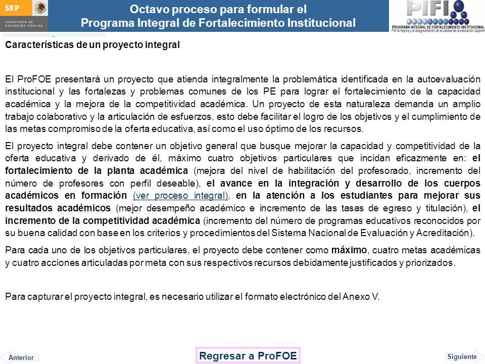 Regresar a ProFOE Características de un proyecto integral