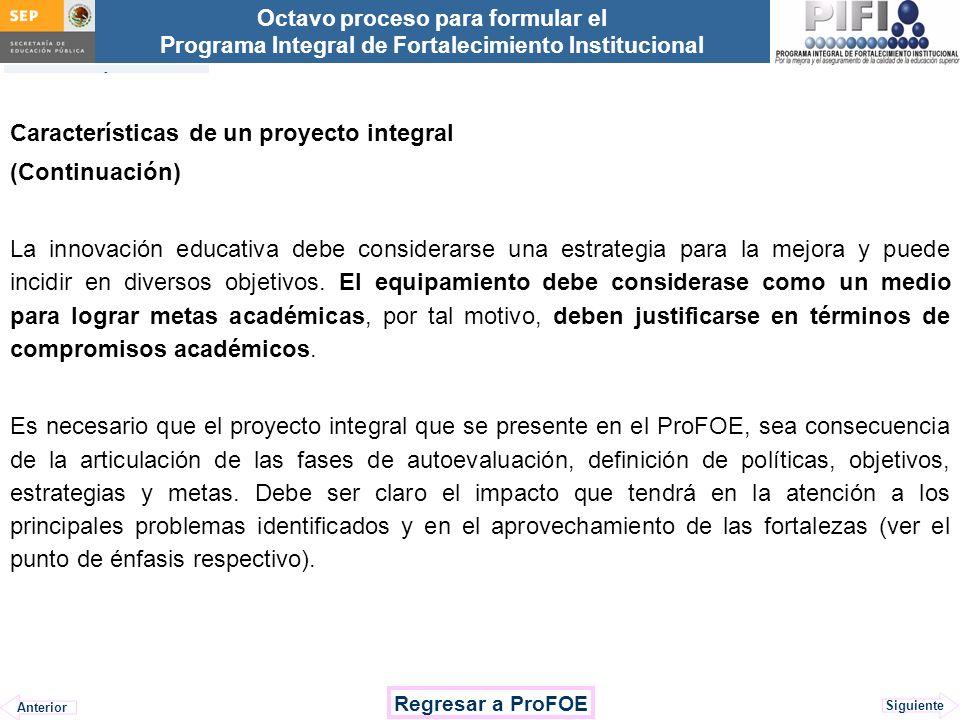 Características de un proyecto integral (Continuación)