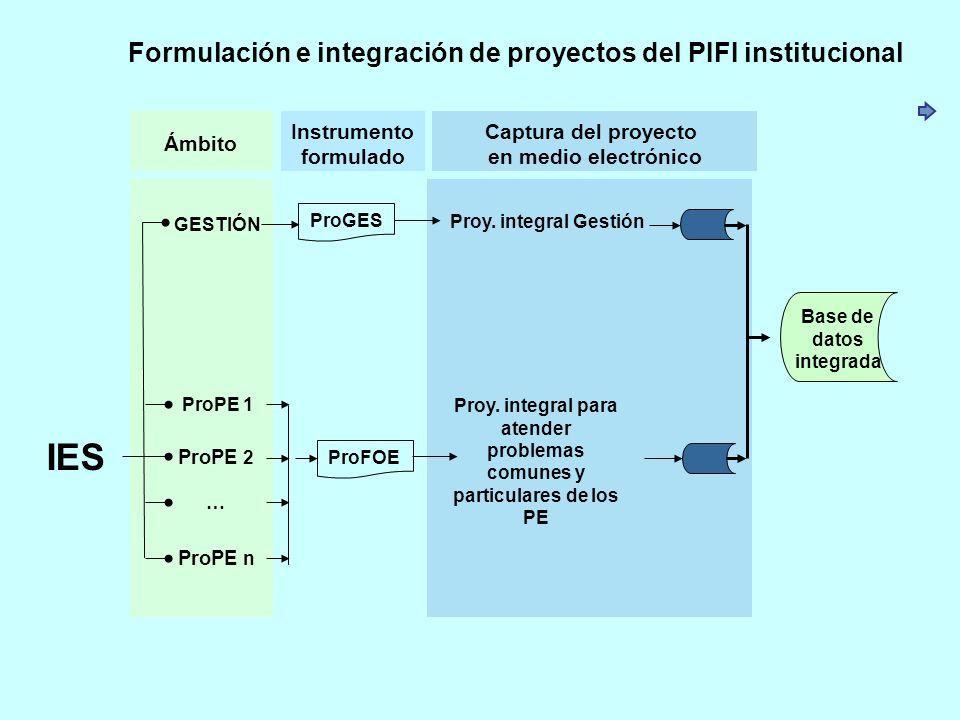 IES Formulación e integración de proyectos del PIFI institucional