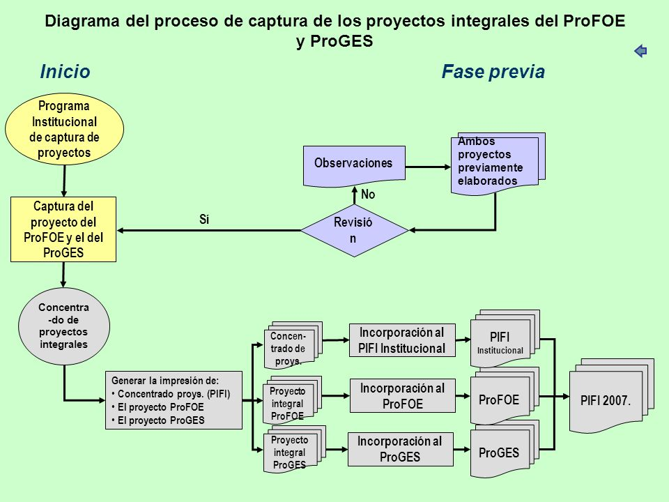 Diagrama del proceso de captura de los proyectos integrales del ProFOE y ProGES