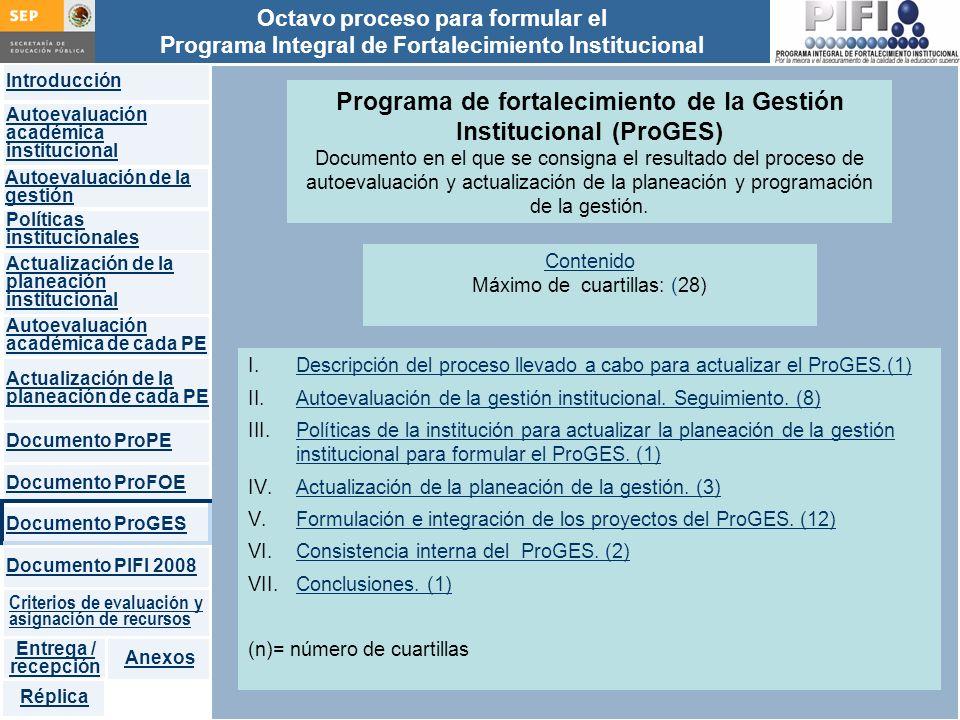 Programa de fortalecimiento de la Gestión Institucional (ProGES)