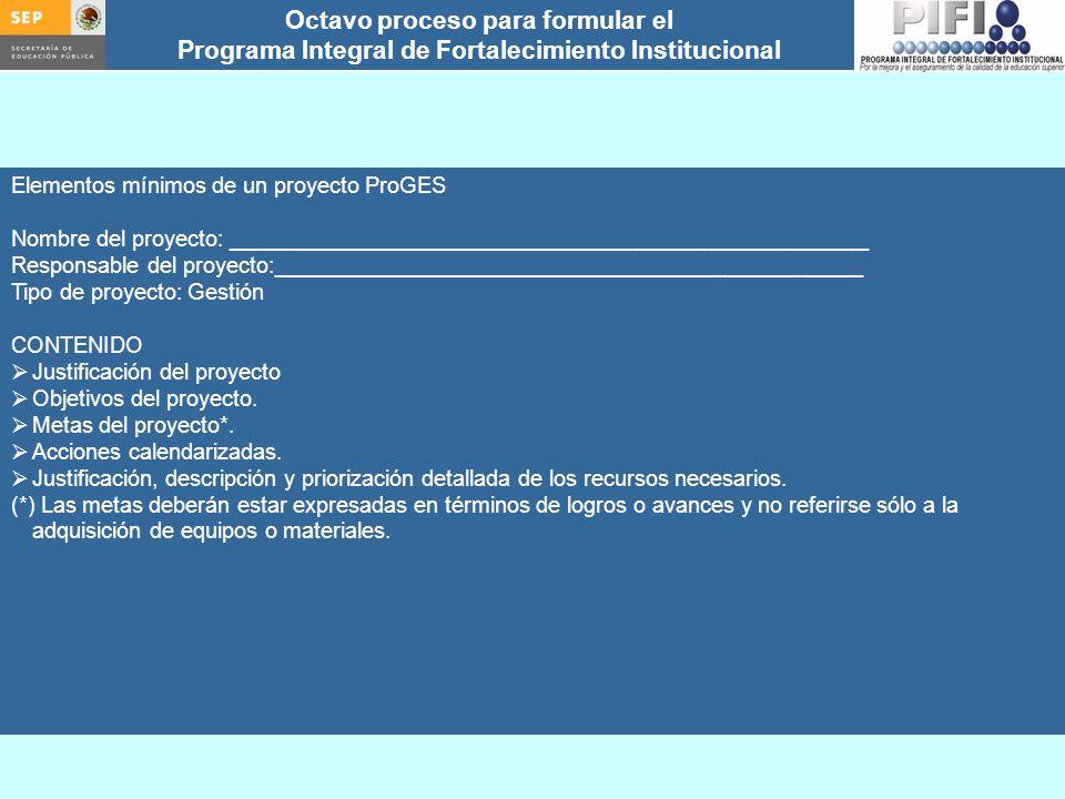 Elementos mínimos de un proyecto ProGES