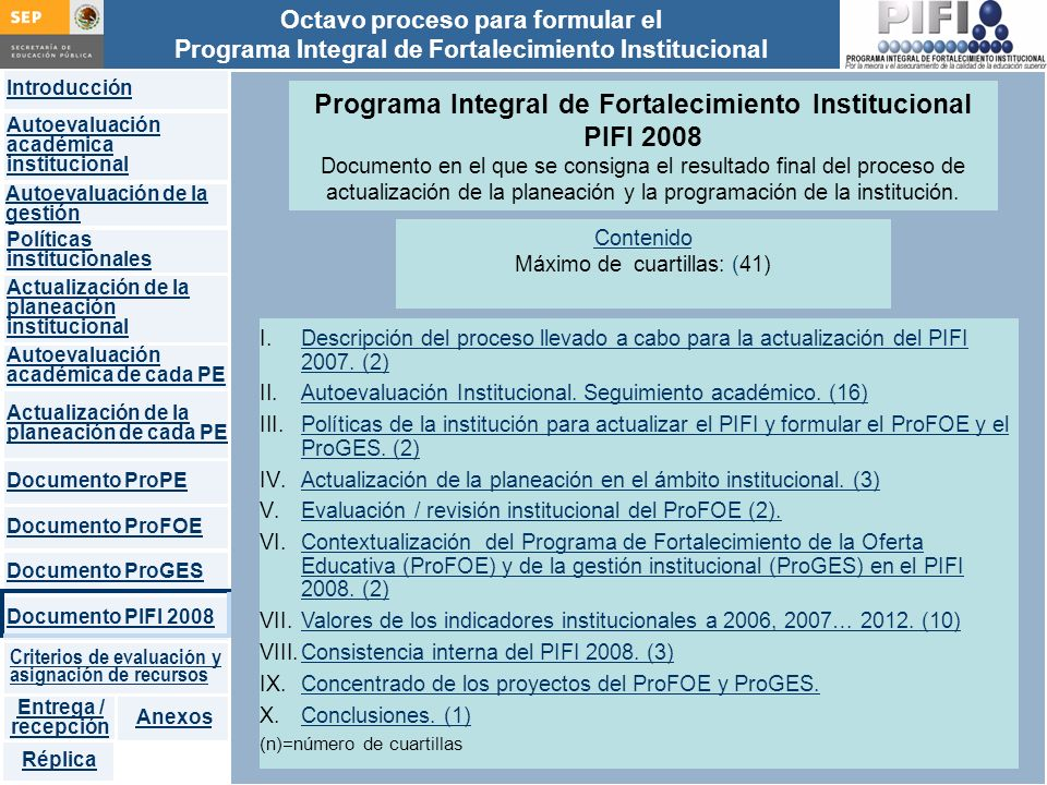 Programa Integral de Fortalecimiento Institucional PIFI 2008